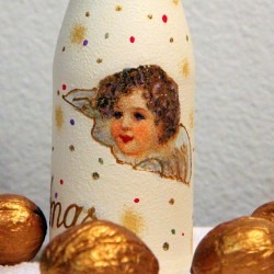 Новогодний декупаж бутылки - мастер-класс